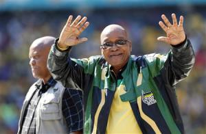 South Africa's President Jacob Zuma greets supporters of his ruling African National Congress (ANC) party during their final election rally in Soweto