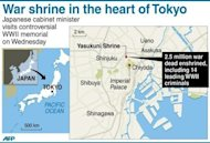 The site of the controversial Yasukuni Shrine in the Japanese capital. China and South Korea have pressed Japan to face up to its wartime past, as festering territorial disputes flared and Asia marked the anniversary of Tokyo's World War II surrender