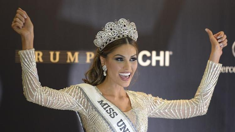 Miss Venezuela and Miss Universe 2013 Gabriela Isler celebrates during a press conference after the 2013 Miss Universe competition in Moscow on November 9, 2013