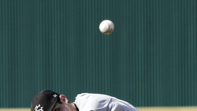 South Carolina's Jordan Montgomery delivers a pitch during their NCAA college baseball tournament regional game against Clemson in Columbia, S.C., Sunday, June 3, 2012. South Carolina won 4-3. (AP Photo/Mary Ann Chastain)