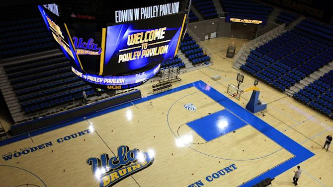 In this photo taken Tuesday, Oct. 23, 2012, an overhead view of the court at Pauley Pavilion at the the University of California in Los Angeles. The UCLA Bruins honor their championship past and address the future in the $132 million renovation to be unveiled on Nov. 9 when they host Indiana State in their men's basketball season opener