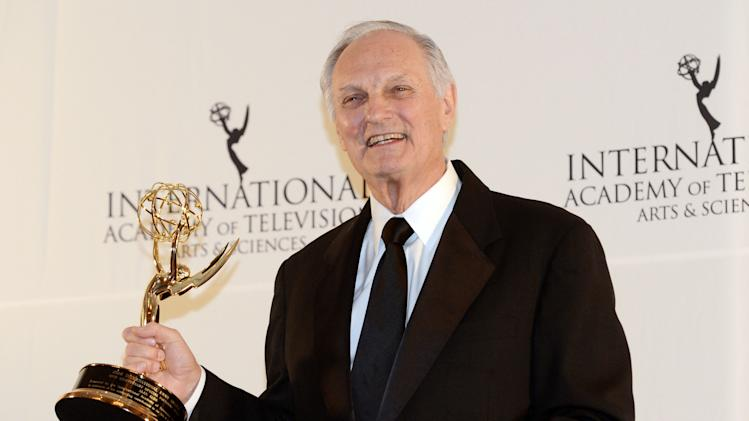 Alan Alda poses after winning a Special Founders Award at the 40th International Emmy Awards,  Monday, Nov. 19, 2012 in New York. (AP Photo/Henny Ray Abrams)