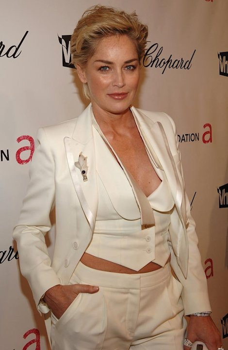 Oscars Elton John Party 2008 Sharon Stone