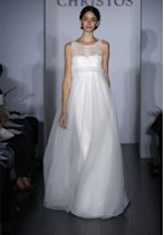 A Line Bateau Floor Length Attached Tulle/ Chantilly Lace Wedding Dress Style T188