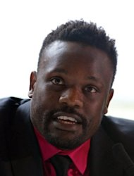 Dereck Chisora, pictured during a press conference with fellow British boxer David Haye, on July 12, two days ahead of their scheduled fight. The pair will fight each other at Upton Park in east London