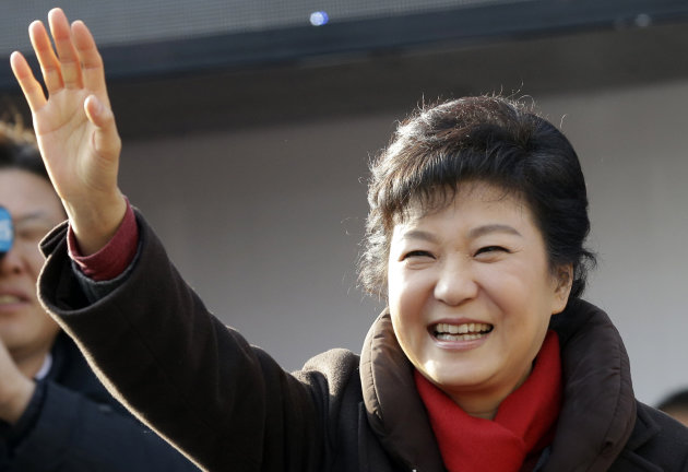 South Korea's presidential candidate Park Geun-hye of the ruling Saenuri Party waves to supporters during her presidential election campaign in Suwon, south of Seoul, South Korea, Monday, Dec. 17, 2012. South Korea's presidential election is scheduled for Dec. 19. (AP Photo/Lee Jin-man)