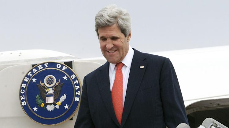 U.S. Secretary of State John Kerry arrives at Seoul military airport in Seongnam, South Korea, Friday, April 12, 2013. Kerry is traveling to Asia to meet with U.S. allies and visit here on the first leg of his three-nation Asian tour. (AP Photo/Paul J. Richards, Pool)