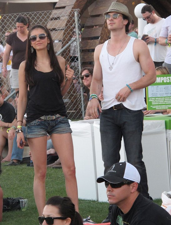 Celebrities at festivals photos: If it wasn't for those bulging biceps Ian Somerhalder would have blended into the crowd but there's no way you can avoid such muscle and hotness.