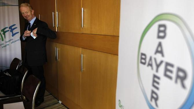 Marijn Dekkers, the Chairman of Management Board and Chief Executive Officer of Bayer AG, arrives to attend a media conference in Sao Paulo