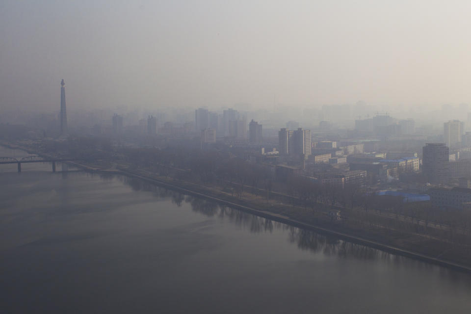 Mist covers the city of Pyongyang, North Korea on Friday, April 13, 2012.  North Korea fired a long-range rocket early Friday, South Korean defense officials said, defying international warnings against a launch widely seen as a provocation. (AP Photo/David Guttenfelder)