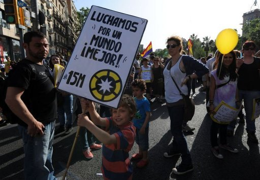 A demonstration in Barcelona to decry economic injustice