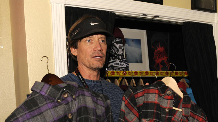 Actor Kevin Sorbo holds Saga Outerwear at the Fender Music lodge during the Sundance Film Festival on Saturday, Jan. 19, 2013, in Park City, Utah. (Photo by Jack Dempsey/Invision for Fender/AP Images)