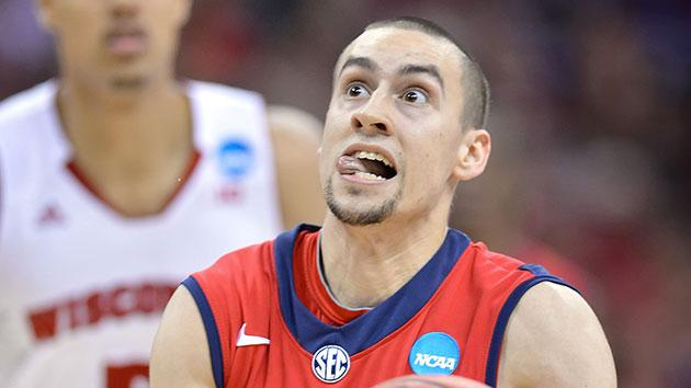 Marshall Henderson grimaces while going up for a shot during Mississippi's win over Wisconsin. (Getty)