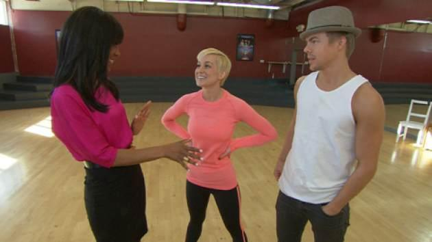 Kellie Pickler and her professional partner Derek Hough chat with Access' Shaun Robinson at their 'Dancing with the Stars' rehearsal on March 12, 2013 -- Access Hollywood