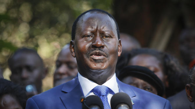 """Kenyan presidential candidate Raila Odinga, who lost the presidential election, speaks to the media in Nairobi, Kenya Saturday, March 9, 2013. Odinga says he will not concede defeat and will contest the election result in court, saying that """"democracy is on trial"""" after the country's election process experienced multiple failures. (AP Photo/Sayyid Azim)"""