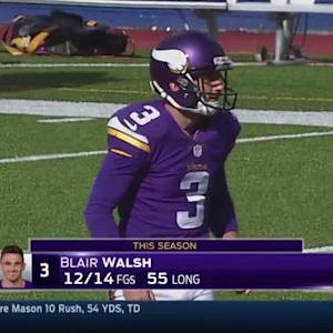 Minnesota Vikings kicker Walsh 55-yard field goal, longest of career