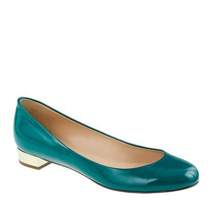 Teal Patent Leather Low Heels