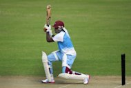 West Indies cricketer Chris Gayle bats during a training session in Dhaka on November 11. He plundered 150 and 64 not out in the first Test against New Zealand in July -- his first Test after a two-year exile following a falling-out with the cricket administration