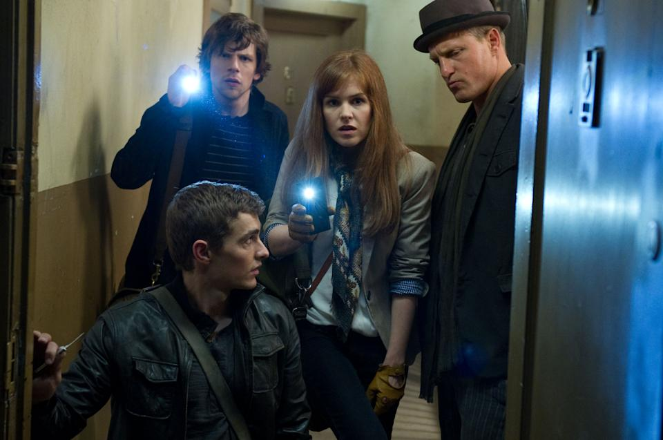 "This film image released by Summit Entertainment shows, clockwise from left, Dave Franco, Jesse Eisenberg, Isla Fisher and Woody Harrelson in a scene from ""Now You See Me."" (AP Photo/ Summit Entertainment, Barry Wetcher)"