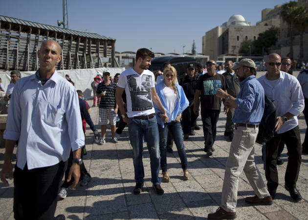 Colombian singer Shakira and FC Barcelona Gerard Pique visits the the Western Wall, Judaism's holiest site in Jerusalem's Old City, Israel, Monday, June 20, 2011. On Tuesday Shakira will atten