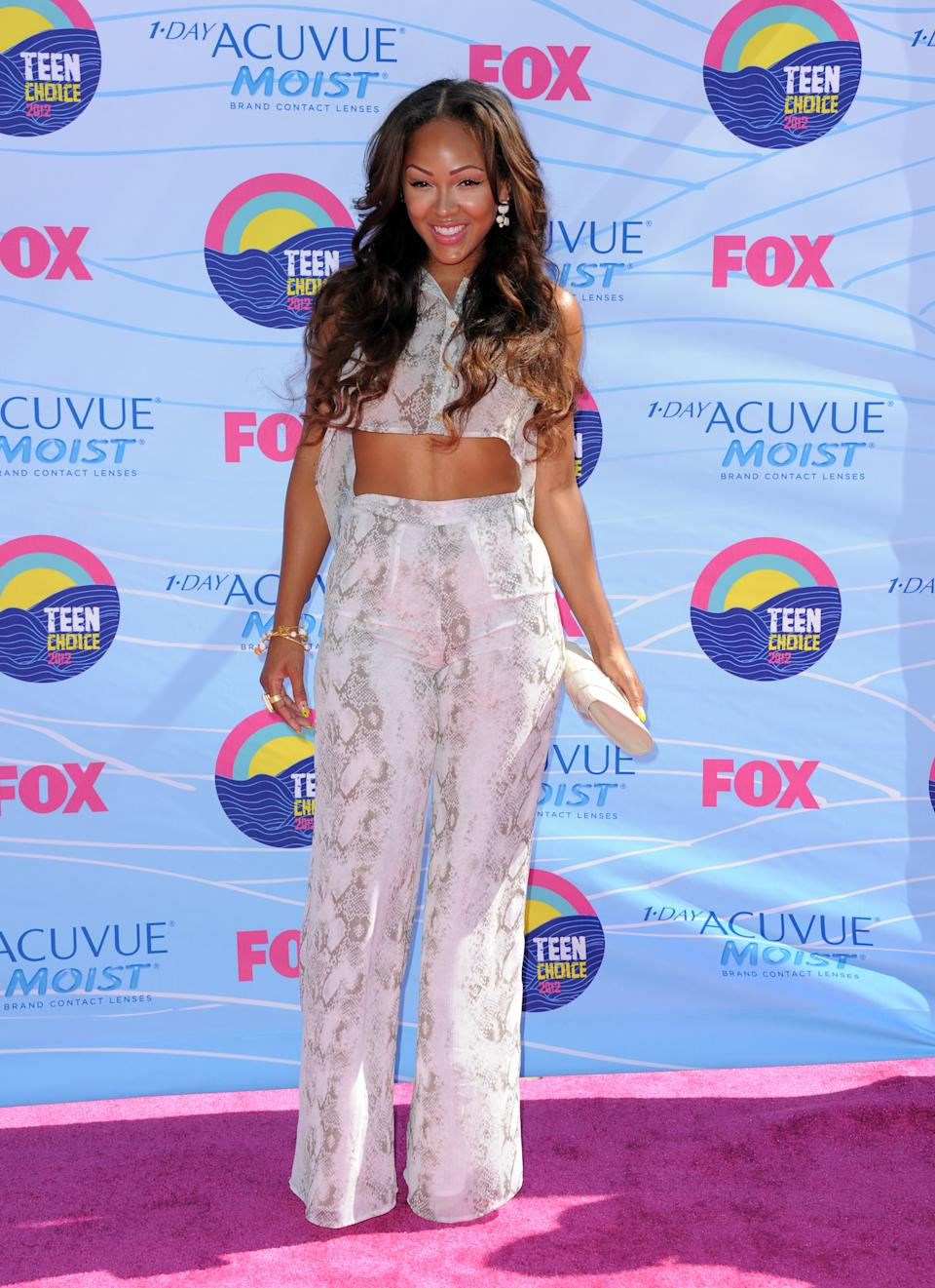 Meagan Good arrives at the Teen Choice Awards on Sunday, July 22, 2012, in Universal City, Calif. (Photo by Jordan Strauss/Invision/AP)