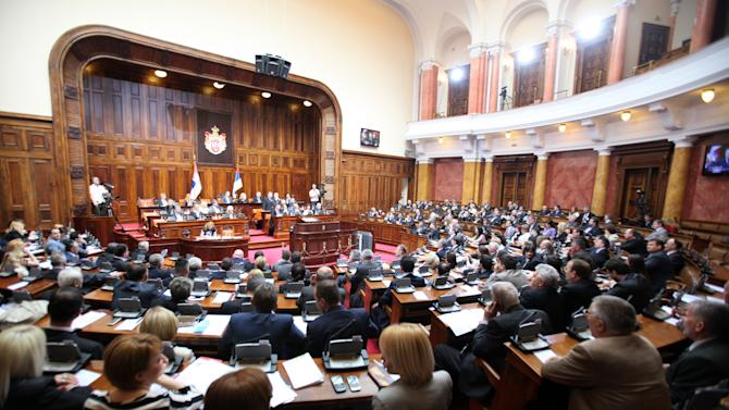 "Serbian Prime Minister Ivica Dacic addresses a parliament session in Belgrade, Serbia, Friday, April 26, 2013. Serbia's prime minister is urging parliament's support for an agreement to normalize relations with breakaway Kosovo, telling lawmakers that rejection of the EU-brokered deal would have turned the country into ""Europe's North Korea."" (AP Photo/Darko Vojinovic)"