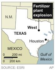 Map locates fertilizer plant explosion near West, Texas
