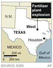 Map locates fertilizer plant explosion near West, Texas