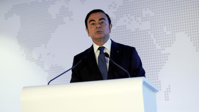 Carlos Ghosn, Chairman and CEO of the Renault-Nissan Alliance, attends Renault's 2015 annual results presentation at their headquarters in Boulogne-Billancourt