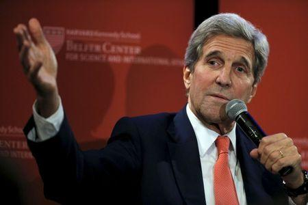 U.S. Secretary of State John Kerry speaks during an event sponsored by Harvard University in Cambridge