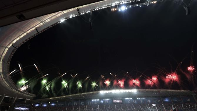 Fireworks light up the sky during the opening ceremony of the 17th Asian Games at the Incheon Asiad Main Stadium in Incheon