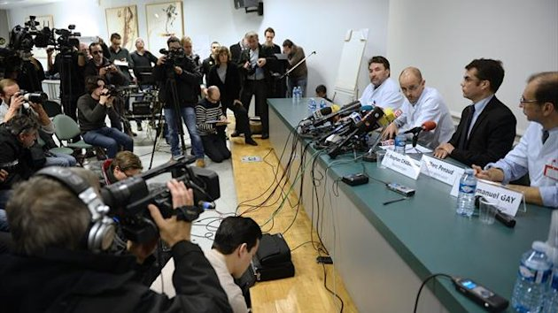 Doctors treating Michael Schumacher address a press conference in hospital in Grenoble (AFP)