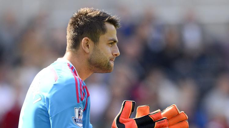 Swansea City's Fabianski reacts during their English Premier League soccer match against Burnley at the Liberty Stadium in Swansea