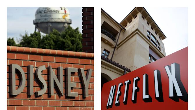 This combination of AP file photos shows the Walt Disney logo in Burbank, Calif. on June 2, 2006, and Netflix's headquarters in Los Gatos, Calif., on March 20, 2012. Netflix shares have been on a magical ride since Tuesday, Dec. 4, 2012, when the company announced a deal that puts some Disney staples in its library immediately, and will allow Netflix to show the studio's movies shortly after they leave theaters in several years.  (AP Photo/File)