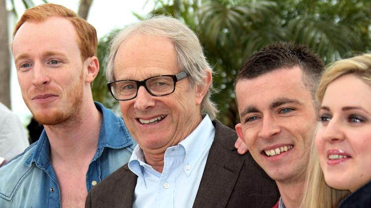 Actor William Ruane, left, director Ken Loach, actors Paul Brannigan and Siobhan Reilly pose during a photo call for The Angel's Share at the 65th international film festival, in Cannes, southern France, Tuesday, May 22, 2012. (AP Photo/Joel Ryan)