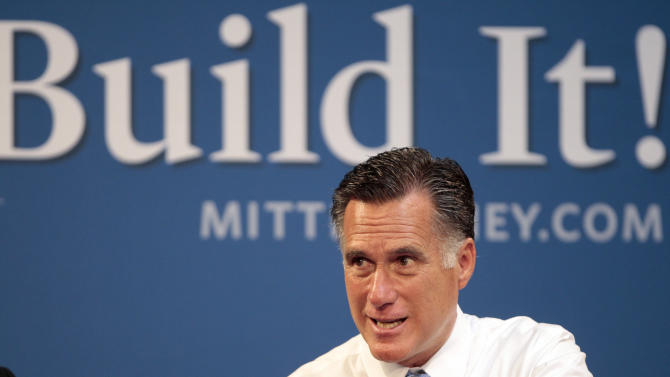 In this July 23, 2012, photo Republican presidential candidate, former Massachusetts Gov. Mitt Romney, hosts a small-business roundtable during a campaign stop at Endural LLC in Costa Mesa, Calif. Stubbornly close and deeply divisive, the presidential race throttles into its last 100 days as an enormous clash over economic vision, likely to come down to fall debates, final unemployment numbers and fierce efforts to mobilize voters. It may seem like an election for the whole nation but only about eight states will decide who wins the White House. Polling shows the contest between President Barack Obama and Romney remains remarkably static across the country and in the key states, even as both men and their allies pour money into largely negative television advertising to sway opinions. The two candidates will intensify their time before voters in the weeks ahead, knowing much of the public will not truly start paying attention until after Labor Day. (AP Photo/Jason Redmond)