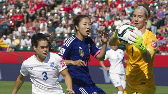 England's Claire Rafferty (3) and Japan's Yuki Ogimi (17) watch as goalkeeper Karen Bardsley (1) makes a save during the first half of a semifinal in the FIFA Women's World Cup soccer tournament, Wednesday, July 1, 2015, in Edmonton, Alberta, Canada. (Jason Franson/The Canadian Press via AP)