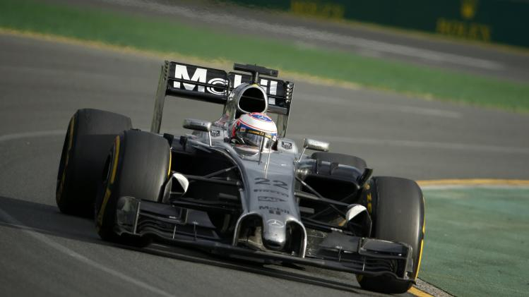 McLaren Formula One driver Button of Britain takes a corner during the Australian F1 Grand Prix in Melbourne