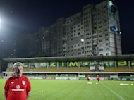 Roy Hodgson during a training session at the Zimbru Stadium in Chisinau