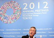 <p>Image provided by the International Monetary Fund (IMF) shows Olivier Blanchard, chief economist of the IMF, at a World Economic Outlook press briefing on October 9. He is considered worthy of winning a Nobel though he is seen as having little chance this year because of his role at the IMF.</p>