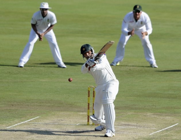 Pakistan's Irfan plays a shot during third day of the third test cricket match against South Africa in Pretoria