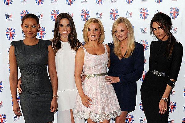 Melanie Brown, Melanie Chisholm, Geri Halliwell, Emma Bunton and Victoria Beckham of the Spice Girls attend launch of new musical based on the Spice Girls' music at St Pancras Renaissance Hotel on June 26, 2012 in London, England. (Photo by Eamonn McCormack/WireImage)