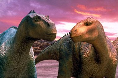 Iguanodons Aladar (left) and Neera discover a mutual attraction as they face the hardships of a trek across the arid desert in Disney's Dinosaur