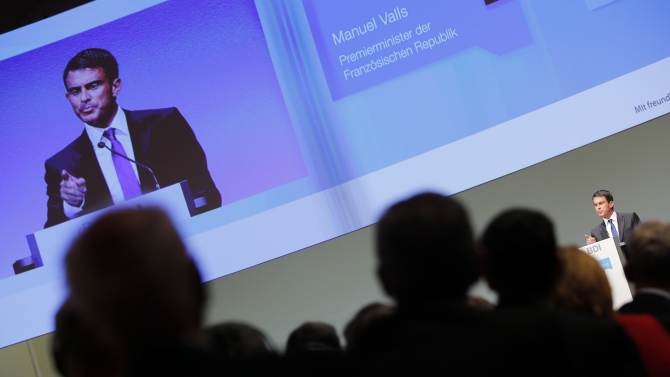 French Prime Minister Valls gives a speech at the Federation of German Industry BDI's Day of the German Industry conference in Berlin