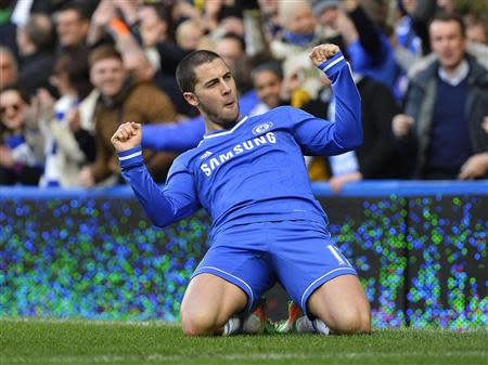 Chelsea's Hazard celebrates scoring his second goal against Newcastle United during their English Premier League soccer match in London
