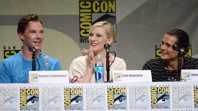 """Benedict Cumberbatch, from left, Cate Blanchett and Orlando Bloom attend the Warner Bros. Pictures panel for """"The Hobbit: The Battle of the Five Armies"""" on Day 3 of Comic-Con International on Saturday, July 26, 2014, in San Diego. (Photo by Richard Shotwell/Invision/AP)"""