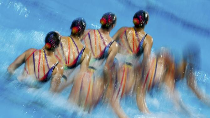 Team Canada performs in the synchronised swimming team free final at the Aquatics World Championships in Kazan