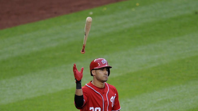 Washington Nationals' Ian Desmond tosses his bat after he struck out against the Chicago Cubs during the eighth inning of a baseball game, Saturday, May 11, 2013, in Washington. The Cubs won 8-2. (AP Photo/Nick Wass)