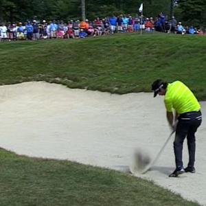 Bubba Watson's sand blast leads to par save on No. 5 at Deutsche Bank