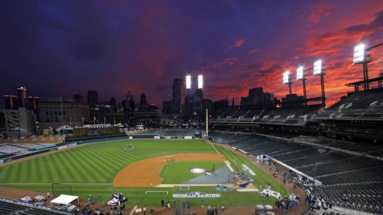 Clouds are illuminated at sunset over Comerica Park in Detroit, Friday, Oct. 26, 2012. The Tigers host the San Francisco Giants in Game 3 of baseball's World Series  n Saturday. The Giants lead the best-of-seven series 2-0. (AP Photo/Paul Sancya )